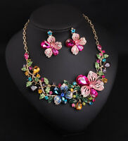 Fashion Women Crystal Flower Choker Chunky Statement Pendant Necklace Bib Chain