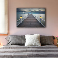 Beach Side Wharf Stretched Canvas Print Framed Wall Art Home Decor Painting IV