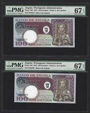 1973 Angola 100 Escudos, TOP GRADE PMG 67 EPQ GEM UNC 2x CONSECUTIVE, P-106