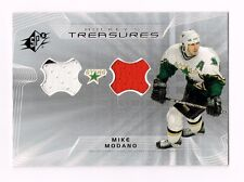 2001 UD SPX MIKE MODANO DUAL 3 CLR GAME-USED JERSEY SWATCHES MO DALLAS STARS