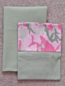 CRIB/TODDLER SHEET 2PC SET/COTTON /HANDMADE - PINK AND GREEN CAMO PRINT
