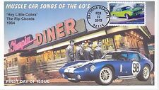 JVC CACHETS - 2013 MUSCLE CARS FIRST DAY COVER FDC -RIP CHORDS 'HEY LITTLE COBRA