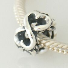 Double LOVING HEART - Infinity - Solid 925 sterling silver European charm bead