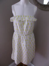 Old Navy White Yellow Green Print Cotton Sundress LARGE