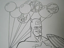 3 Pages of original MARVEL art by CRAIG ROUSSEAU CAPTAIN AMERICA coloring book