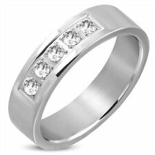 6MM STAINLESS STEEL MENS PAVE SET WEDDING BAND CUBIC ZIRCONIA RING  US11/W