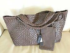 FALOR ITALY~#7349 BROWN Hand Woven Intrecciato Leather Tote~NWT -XL