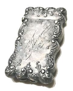 Antique Vintage 1895 Engraved Sterling Silver Vesta Match Safe Case Holder Old
