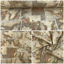 Deko Patchwork Stoffe Baumwolle Lonetta 280cm Breit Gardine Vorhang Weltkarte