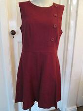 Warehouse Vestito di lana, rosso scuro, taglia 16, EURO 44 Nuovo di Zecca