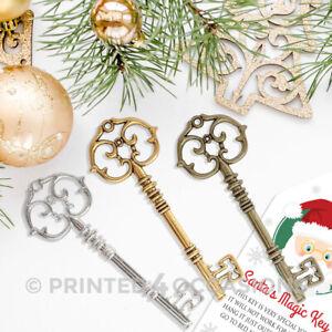 Santa Keys Large Antique Bronze Gold Silver steampunk skeleton Christmas charms