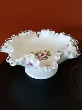 """FENTON """"Violets in the Snow"""" GLASS SILVER CREST COMPOTE W/ HAND PAINTED FLOWERS"""
