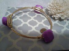 Bourbon and Boweties Purple Stone Gold Bangle Bracelet