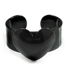 Black Acrylic Heart Cuff Bangle