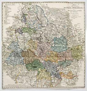 Baumgarten: Karte vom Fürstenthum Ansbach (1792). Original-Kupferstich.