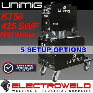 UNIMIG WORKSHOP 425 SWF MIG WELDER 3 PHASE KT50 WIRE FEEDER 415V KUM425SWF