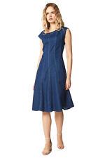Denim Fit and Flare Cap Sleeve Dress - Women Roman Originals