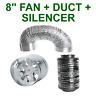 "VENTILATION 8""/200MM COMBO - EXTRACTOR FAN+ SILENCER + ALUMINIUM DUCTING VENT"