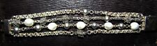 michael dawkins 4 strand sterling silver and pearl bracelet signed
