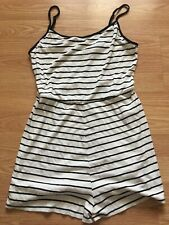 Forever 21 Ribbed Striped Romper: Size: Large, Color: Cream/Black
