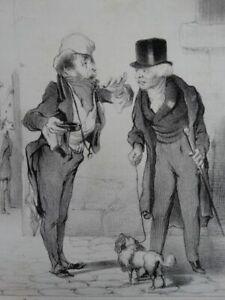 Macaire Bettler - Lithographie Daumier Aubert - Satire Humor Frankreich - 1839