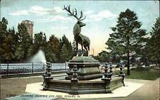 Drinking Fountain ~ Deer Statue ~ City Park  Reading Pennsylvania PA ~ c1910