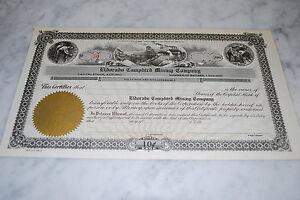 Stock Certificate - Eldorado Campbird Mining Company – Nevada – 1900's