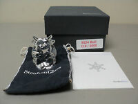 """STEUBEN CRYSTAL LTD. EDITION """"BULL"""" FIGURAL HAND COOLER, SIGNED, NEW IN BOX"""
