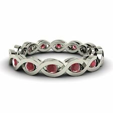 White Gold Infinity Wedding Band Ring Certified 0.80 Ct Natural Ruby 14k