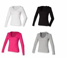 Ladies long sleeved V Neck Cotton Hooded T-shirt Top ST251