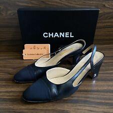 CHANEL Slingback Black Goatskin & Grosgrain Pumps Heels Size 6.5 (UK) 39.5 (EUR)