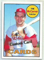 TIM McCARVER ST. LOUIS CARDINALS 1969 STYLE CUSTOM MADE BASEBALL CARD BLANK BACK