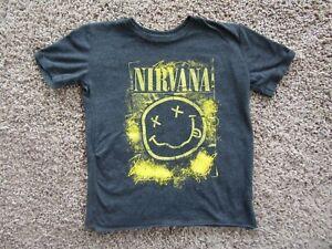 Nirvana Black/Yellow Graphic Cotton Blend Short Sleeve T Shirt Youth S