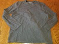 New Mens Free Country Long Sleeve Shirt Gray Crew Neck 2XL XXL