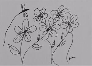 "ACEO original flowers dragonfly ink drawing by Lynne Kohler 2.5x3.5"""