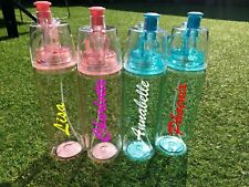 Personalised Custom Water Bottle With Cool Spray Love Gym Girls Boys Name Text