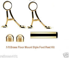 5 Ft  Floor Mount Bar Foot Rail Tubing Kit - 5 Foot Polished Brass Bar Foot Rest