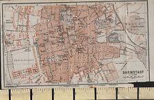 1925 GERMAN MAP ~ DARMSTADT CITY PLAN GARDENS CHURCHES TRAIN STATIONS