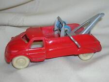 "Vintage ACME Toy Wrecker Truck Red Plastic 4 3/4"" Metal Wrecker Gear Tow Truck"