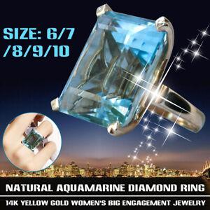 14K Natural Aquamarine Diamond Ring Yellow Gold Women's Big Engagement Jewelry