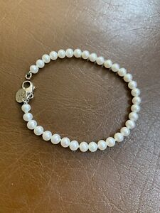 """Tiffany & Co 5mm Pearl bracelet Silver Clasp Size 7.25"""" With Box Only"""