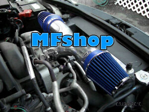 BLUE Dual For 2004-2009 Jeep Liberty 3.7L V6 Twin Air Intake System Kit