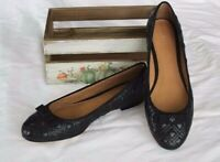NEW Quilted Leather TORY BURCH Black Grosgrain Bow MARION Ballet Flats Shoes 8