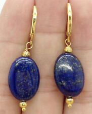 Handmade Beautiful Blue Lapis Lazuli 13x18mm Gold Earrings Leverbacks