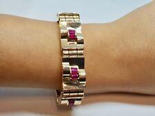 Bracelet Tank Or jaune 18 carats 750/1000 Pierres rouge 18.5 cm 67.28 grammes