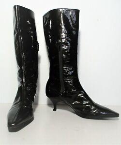 Marc Jacobs Boots 38 1/2 knee high kitten heel very dark brown patent leather