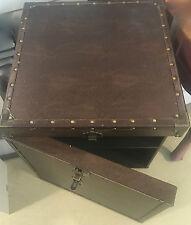 XXL NACHTTISCH Truhen Style BOX Tisch Braun Aufbewahrung Ablage Nieten Leder NEU