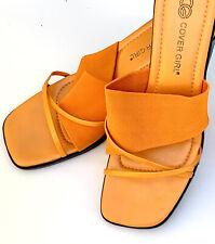 Orange Heels Covergirl Size 10 Open Toe Pumps Backless Sandal Heel Mule Stretchs