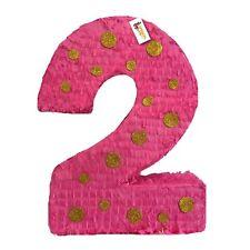 APINATA4U Hot Pink & Gold Polka Dots Number Two Pinata