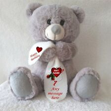 PERSONALISED GREY TEDDY BEAR WITH HEART BLANKET BIRTHDAY ANNIVERSARY GIFTS